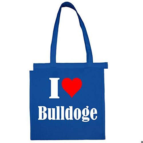 Tasche I Love Bulldoge Größe 38x42 Farbe Grau Druck Schwarz