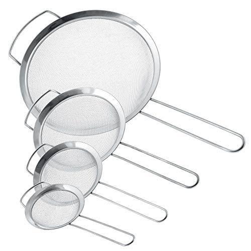 U.S. Kitchen Supply - Set of 4 Premium Quality Fine Mesh Stainless Steel Strainers with Wide Resting Ear Design - 3, 4, 5.5 and 8 Sizes - Sift, Strain, Drain and Rinse Vegetables,...