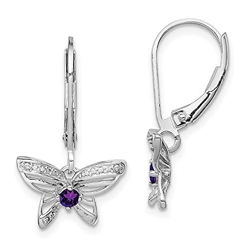 Plata de Ley 925diamond2deal rhodium- chapado en Amatista y Diamante Pendientes de mariposa