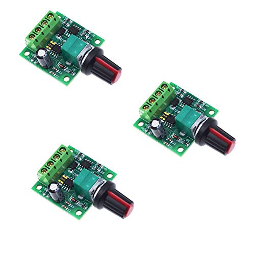 ZkeeShop 3Pcs DC 1.8V 3V 5V 6V 12V 2A 30W PWM Low Voltage DC Motor Speed Controller PWM 1803BK Adjustable Driver Switch