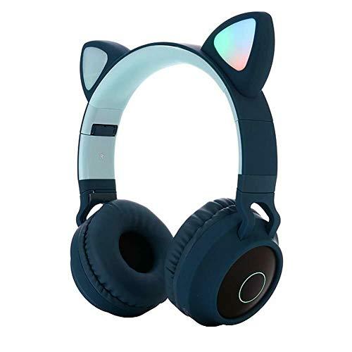 Bluetooth 5.0 Casque stéréo pour oreille de chat avec microphone et fente pour carte TF Casque...