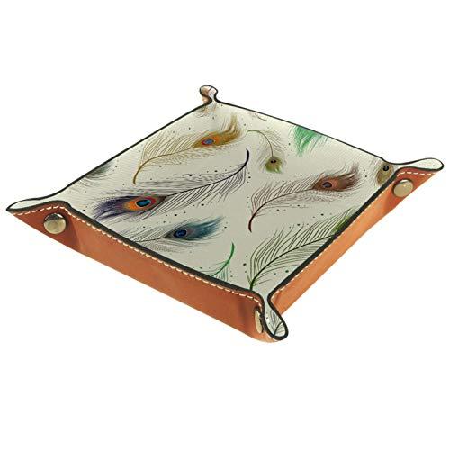 MUMIMI Caja de almacenamiento de exhibición de la joyería anillo pendientes caja de joyería anillo titular elegante pluma de pavo real