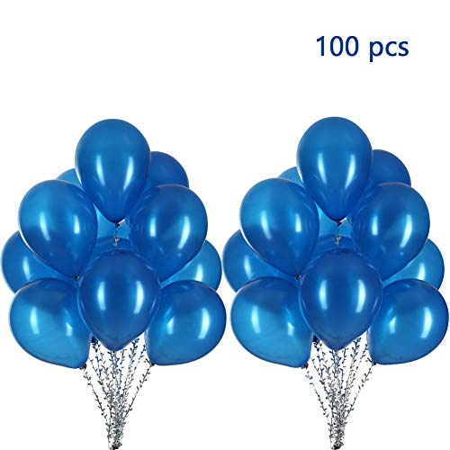 MOWO Blue Balloons 12 Inch Latex Helium Balloons Party Decorations, 3.2g/pcs, Pack of 100