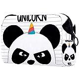 Bolsa de maquillaje portátil con diseño de panda ninja, panda y unicornio