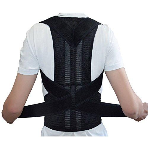 ZSZBACE Posture Corrector Back Support Shoulder Brace Belt for Men Women Adjustable 5 Size (M:Waist Length fits 31.4-37.4', Black)