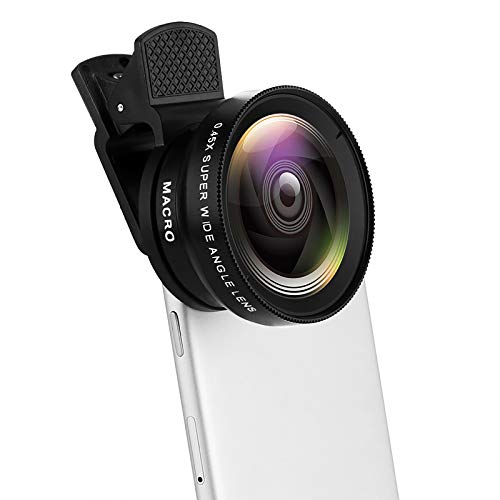 Kasachoy - Obiettivo portatile per telefono cellulare, 2 in 1 clip on Fish Eye+0,45 x grandangolo+obiettivo macro 12,5 x, kit obiettivo universale per fotocamera HD, per cellulare, smartphone