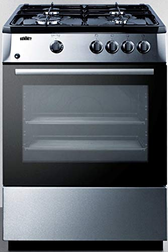 """Summit Appliance PRO24G 24"""" Wide Slide-In Look Gas Range with Sealed Burners, Electronic Ignition, Waist-High Broiler, Stainless Steel Finishing, Storage Compartment, and Black Cabinet and Surface"""