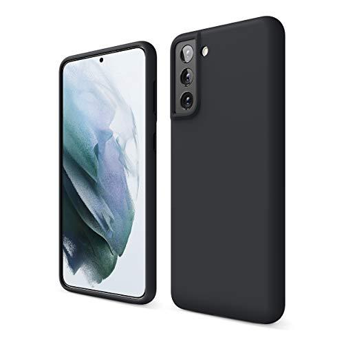 elago Liquid Silicone Hülle Kompatibel mit Samsung Galaxy S21 Plus Hülle, Hochwertiges Silikon, R&umschutz Handyhülle : 3-Layer Struktur Schutzhülle (Schwarz)