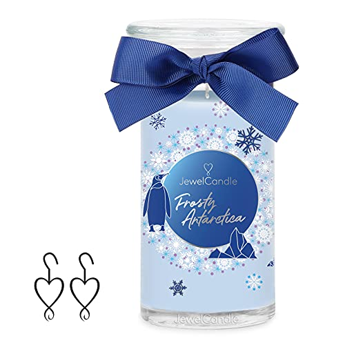 JewelCandle Frosty Antarctica Grand Jarre (1020g, 95-125heures de Combustion) Bleu Bougie parfumée (Fraîcheur) avec Bijou en Argent Sterling 925-Boucles d'oreilles