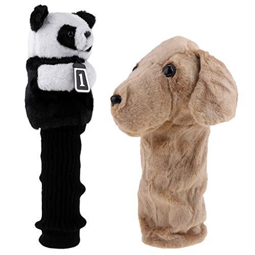 LEIPUPA 2Pcs Animal Sport Golf Driver Head Cover - Dog + Panda Headcover Accessories
