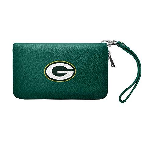 NFL Green Bay Packers Soft Pebble Organizer Wallet - Zip Closure Wallet - Wristlet