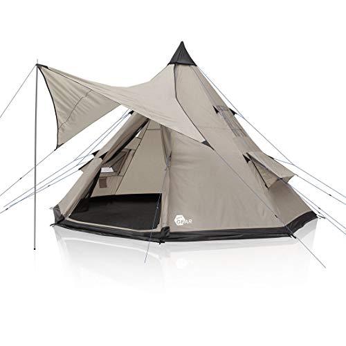 your GEAR Tente Numana 400 Tente tipi familiale 4-6 Personnes auvent Hauteur Libre Tapis de Sol Cousu imperméable 5000 mm Gris Beige