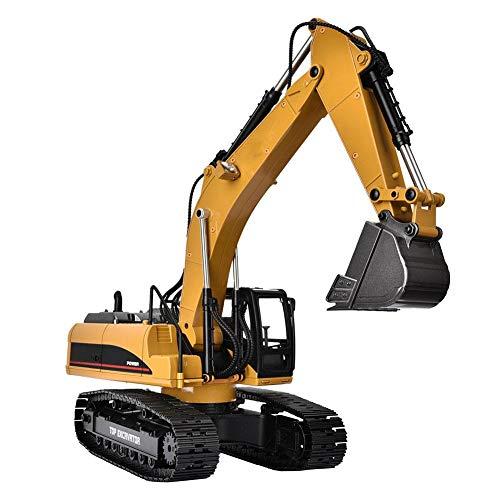 Excavadoras RC, Camión de Control Remoto, 1580 1/14 Escala 23 Canales Excavadora de Juguete Excavadora de Metal Ingeniería Vehículo Modelo RC Coche Juguete Cumpleaños niños Niños