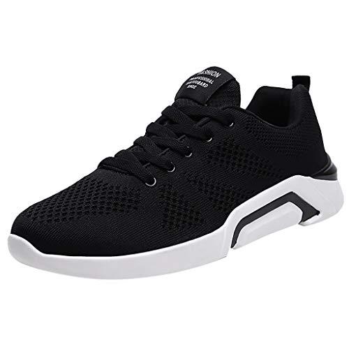 riou Zapatillas de Running para Hombre Mujer Malla Zapatillas Deportivo Transpirable Pareja Zapatos Casuales Plataforma Calzado para Correr Sneakers Negro Blanco 36-45