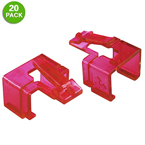 20 Pack Plug SOS Clips in Red, for RJ45 Connector Fix/Repair and Color Coding/Management, NO Crimp Tool Needed
