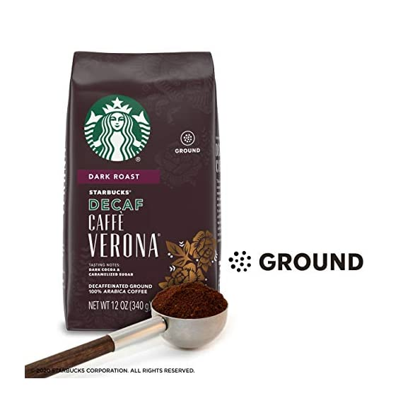 Starbucks Decaf Ground Coffee — Decaf Caffè Verona — 100% Arabica — 6 bags (12 oz.) 3 Decaf Caffè Verona coffee is well-balanced and rich with a dark cocoa texture While the look of the package has changed, this is still the same great-tasting Starbucks coffee you know and love Enjoy the Starbucks coffee you love without leaving the house