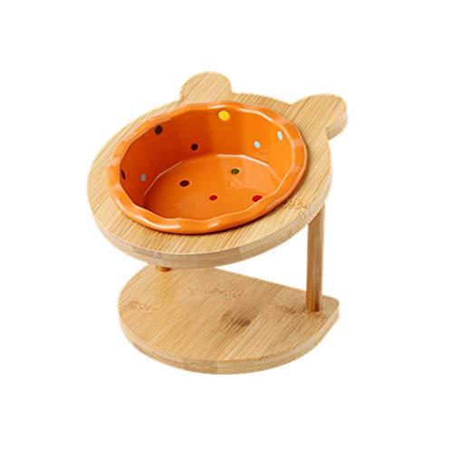 Pet bowl Katze und Hund Schüssel Keramik Regal einzige Schüssel Esstisch for Katzen- und Hundegeschirr mit zervikalem Schutz (Color : Orange)