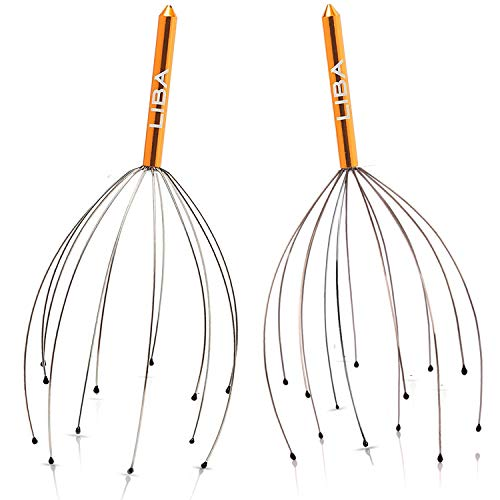 Scalp Massager Tool in Gold (2-Pack) Head Hair Scratcher Massage by LiBa. No Painful Scratches, Tangling, or Pulling Wires with Gentle Beads (Gold, 12 Wire)