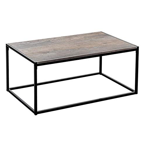 Harbour Housewares Table Basse contemporaine/Industrielle - Bois Clair/Structure en Acier - 110 x 60 x 46 cm