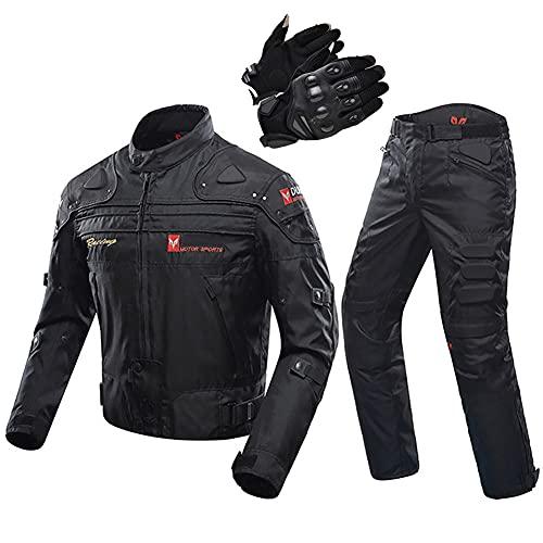 ZDSKSH Traje de moto para mujer, chaqueta + pantalones + guantes, impermeable, cortavientos y transpirable, para las 4 estaciones