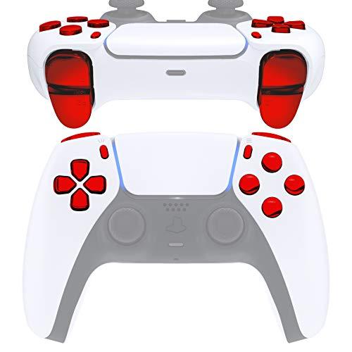 eXtremeRate D-Pad R1 L1 R2 L2 Triggers Action Home Share Options Boutons de Remplacement pour DualSense 5 pour PS5 Contrôleur, Kit de Boutons avec Outil pour Playstation 5 Manette-Rouge Chromé