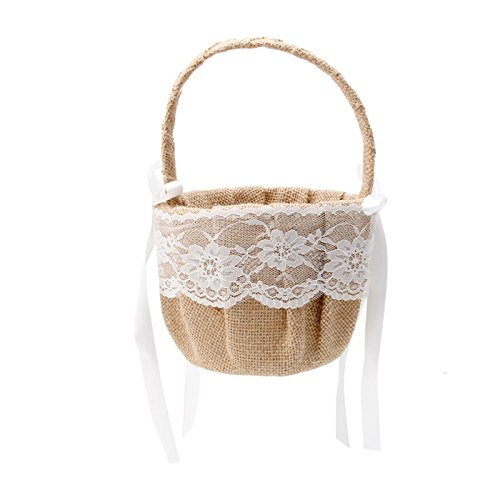 Kofun boda flor Cesta, Vintage rústico romántico con lazo de cinta de raso rosa flores niña cesta para boda ceremonia fiesta con encaje decoración