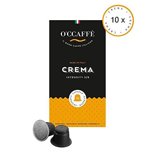 O'CCAFFÈ – Crema | 100 Nespresso kompatible Kaffeekapseln | Kaffee aus extra langsamer Trommelröstung aus italienischem Familienbetrieb