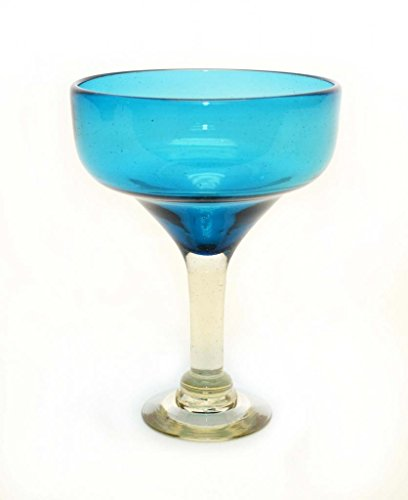 Set of 4, Aquamarine Margarita Glasses, Handmade, Recycled Glass-14oz