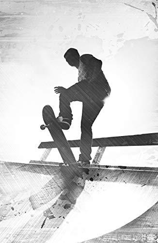 Bilderdepot24 Fototapete selbstklebend Grungy Skateboarder - schwarz weiß 100x150 cm - Wandbild Wohnzimmer - Hobby Freizeit und Sport