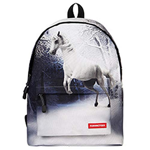 FAGavin Student Business Travel Polyester Bag White Horse Pattern, Suitable For College Students, 14-inch Computer Interlayer, Men And Women Breathable Shoulder Bag