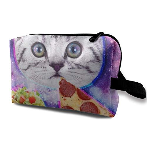 XCNGG Bolsa de cosméticos unisex Muñequeras Bolsa de maquillaje Bolsas de aseo de moda con cremallera Divertido Galaxy Taco Cat Pizza