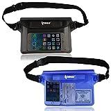 ipow Bolsa riñonera Impermeable [Pack de 2] iPhone, teléfono móvil, cámara, iPad, Dinero en Efectivo, Documentos, protección contra el Agua (Negra + Azul)