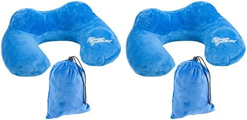 Newgen Medicals Nackenkissen Flugzeuge: 2 aufblasbares Reise-Nackenhörnchen mit integrierter Luftpumpe, Tasche (Nackenkissen mit Handluftpumpen)