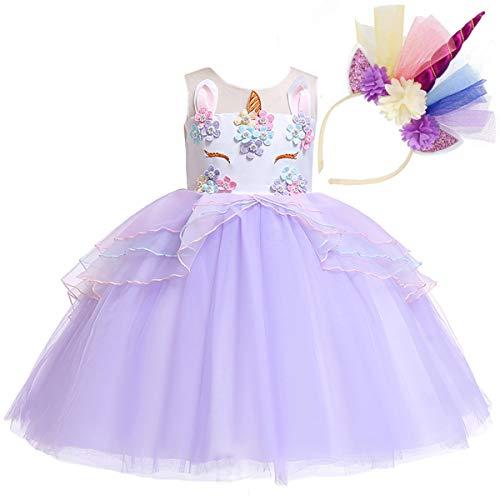 NNDOLL Mädchen Einhorn Rüschen Blumen Cosplay Partykleid Brautkleid Prinzessin lila 140 6 7 Jahre