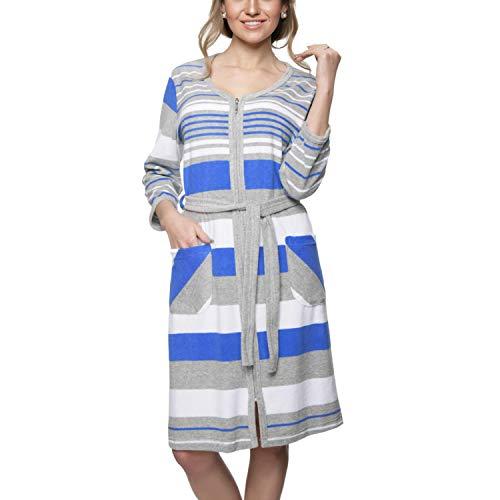 Aquarti Damen Morgenmantel mit Reißverschluss Streifen, Farbe: Blau, Größe: XXL