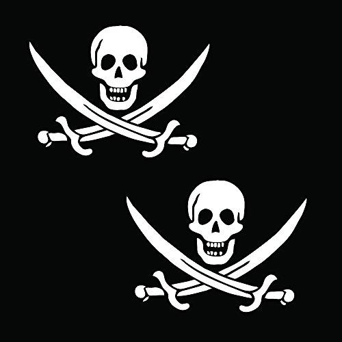 "Auto Vynamics - PPFS-JR07-6-GWHI - Gloss White Vinyl ""Jolly Roger"" Pirate Flag Symbol Decal - John ""Calico Jack"" Rackham (Rackam / Rackum) Skull & Crossed Swords Design - Matching Pair - (2) Piece Kit - 6-by-4.5-inches"