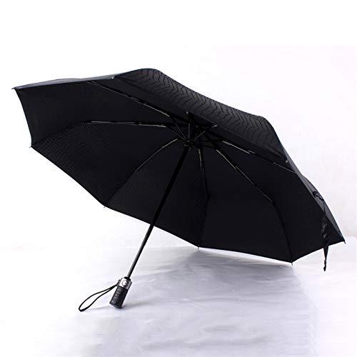 CHAO mannen 3 vouwen Compact volledig automatisch imitatie leer sterke paraplu's, draagbaar, waterdicht, weerbestendig, stevig, antislip, geschikt voor buiten