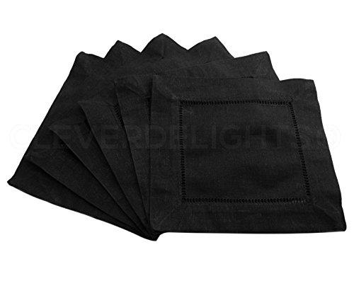 """12 CleverDelights 6"""" Black Hemstitch Cocktail Napkins - 100% Cotton - Ladder Hemstitch Cloth Napkins"""