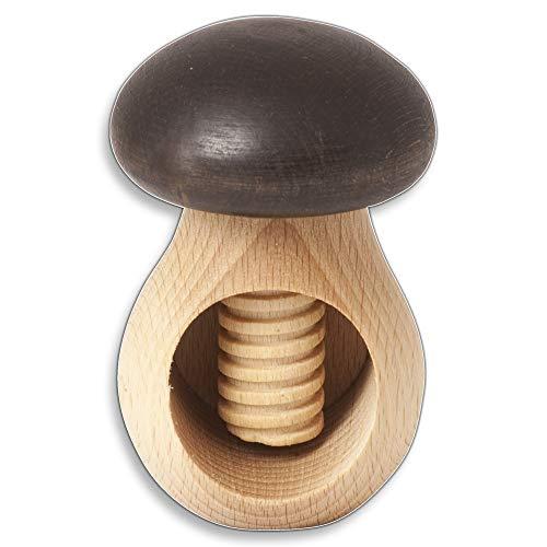 Holz-Nussknacker, Pilz, 10 cm, knackt jede Nuss mit geringem Kraftaufwand, Buche aus Europa, leicht bedienbar durch großen Kopf, ideal für Kinder geeignet, 1 Stück, mit Schraubgewinde, Öffnung 4 cm