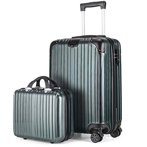 レーズ(Reezu) スーツケース 親子セット 化粧ケース キャリーケース 機内持込 ファスナー キャリーバッグ 超軽量 ジッパー 人気 ミニトランク TSAローク搭載 旅行出張 1年保証 グリーン darkgreen Sサイズ 約42L