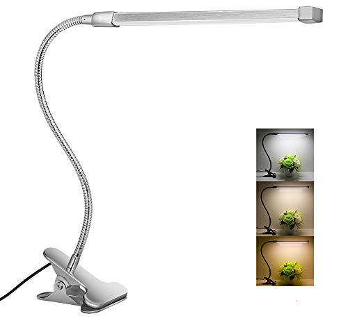 LED Klemmleuchte Dimmbar Schreibtischlampe|8W|Augenschutz|Flexibler Schwanenhals aus Metall|USB-Stromversorgung|3 Lichtfarbe|10 Helligkeitsstufen|Leselampe im Bett|Klemme Tischlampe(Silber)