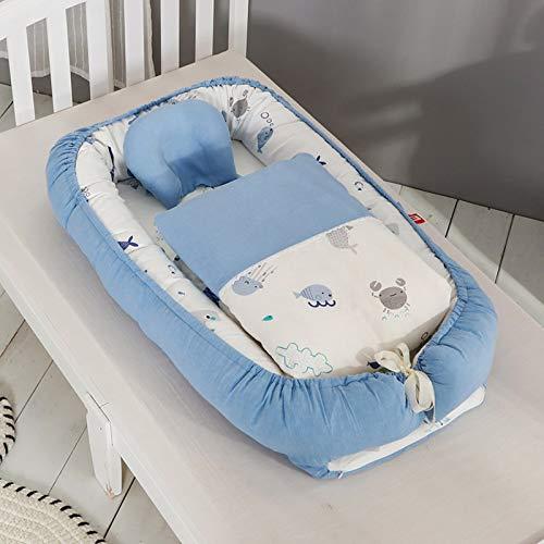 YWJPJ. Portátil Nido de Bebés Cunas de Bassinet para Bebés de Algodón Cama de Cuna Pod de Sueño de Bebé Desmontable - 90 * 55cm,Azul