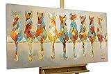 KunstLoft Acryl Gemälde 'Wartende Grazien' 120x60cm | original handgemalte Leinwand Bilder XXL | Katzen Bunt Haustier Deko | Wandbild Acrylbild Moderne Kunst einteilig mit Rahmen