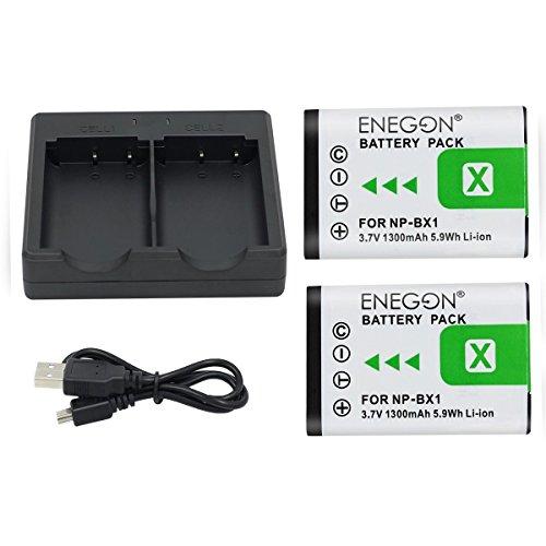 NP-BX1 ENEGON Ersatzbatterie (2er Pack) und Rapid Dual Charger für Sony NP-BX1/M8 und Sony Cyber-Shot DSC-RX100, DSC-RX100M II/II/Ⅳ/Ⅴ/Ⅵ/Ⅶ/VA, DSC-RX100 M4/M5/M6/M7, HDR-CX