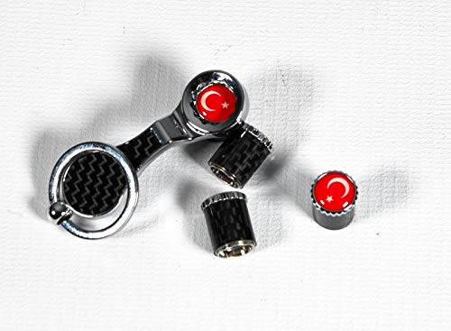 Bouchons de valve de pneu aspect carbone avec protection antivol universelle Turquie, turquoise.