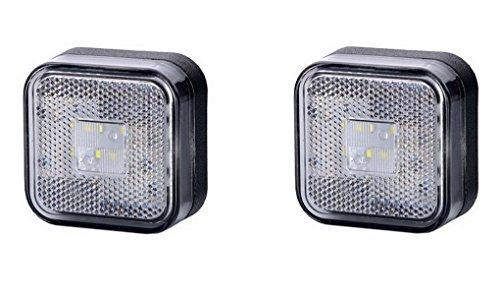 2 x 4 SMD LED Weiß Begrenzungsleuchte Seitenleuchte 12V 24V mit E-Prüfzeichen Positionsleuchte Auto LKW PKW KFZ Lampe Leuchte Licht Front Universal