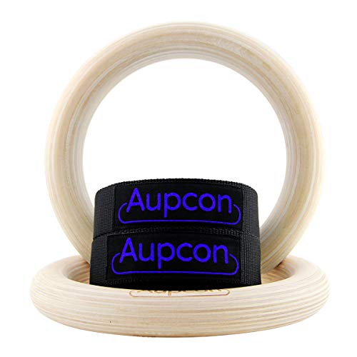 AUPCON Wooden Gymnastics Rings with Heavy Duty Adjustable Straps - Olympic Gym Ring for Strength Training, Workout, Bodybuilding, Cross Training, Fitness, Pull-Ups and Dip 1.25 in