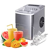 FEANOR Electric Ice Maker Machine, Countertop Ice Maker Produce 9 Bullet-Shaped Ice Cubes in 6-8 Minutes, Portable Ice Maker Making Ice 26lbs/24hrs, Perfect for Home/Kitchen/Office/Bar (Silver)