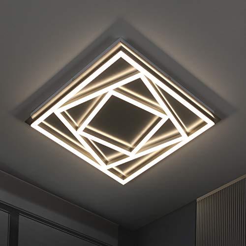 ZMH LED Deckenleuchte Wohnzimmer aus Metall und Acryl 4000K 45W Moderne LED Deckenleuchte 45cm Quadratisch Deckenlampe Schlafzimmer Deckenleuchte für Wohnzimmer, Schlafzimmer, Büro Küche Nickel Matt