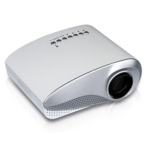 Excelvan RD-802 – Mini Proyector portátil HD Home Cinema (60 lúmenes, resolución 480x320, conexión HDMI/AV/USB/VGA/SD) con altavoces incorporados, Blanco
